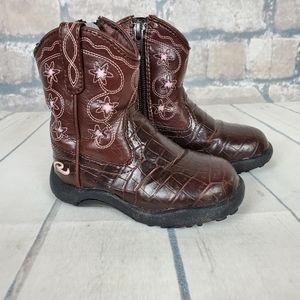 Roper Boots Size 6 Embroidery Brown Faux Leather